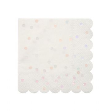 Meri Meri Pink & White Iridescent Spot Paper Napkins - pack of 16 Small